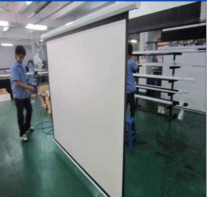 White Motorized Silver Projection Screen With Remote Control For Metting Room