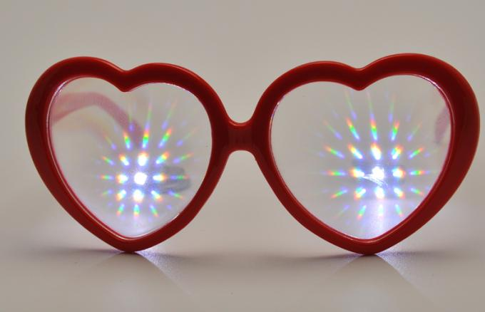 Customized Plastic Diffraction Glasses With Heart Shape Red Frame