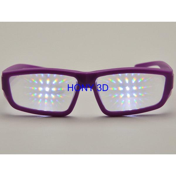 Purple Plastic Diffraction Glasses Use 0.35mm Thickness Lens