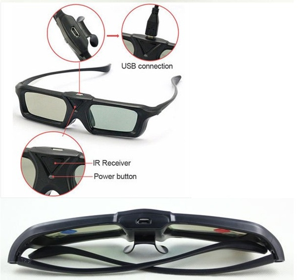 Fresh Rate 120HZ DLP Link 3D Glasses with Active Shutter Powered