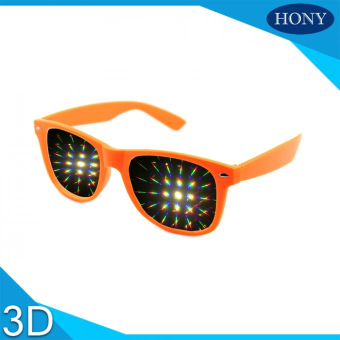 Durable Plastic Red 3D Firework Glasses 0.65mm Lens PC Frame