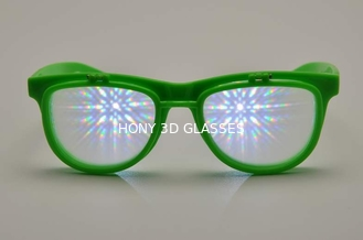 Trung Quốc Green Frame Plastic Diffraction Glasses , Flip Up Fireworks Glasses nhà cung cấp