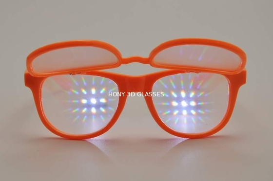 Trung Quốc Orange Frame Plastic Diffraction Glasses With 0.65mm Thickness Lens nhà máy sản xuất